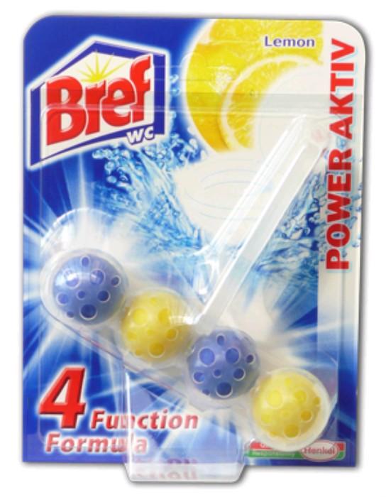 Bref Power Aktiv WC-tisztító nagyker ár-citrom-lemon illatú tisztító illatosító golyók WC-kagylóba - Vegyiáru nagykereskedés Budapesten